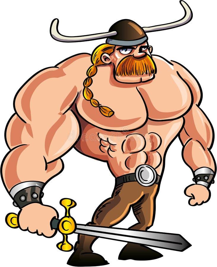Viking cartoon with a big sword stock illustration
