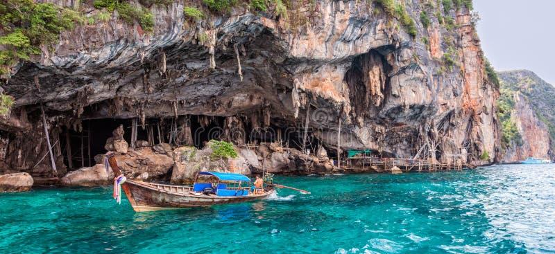Viking Cave on PhiPhi Leh island, Thailand stock photos