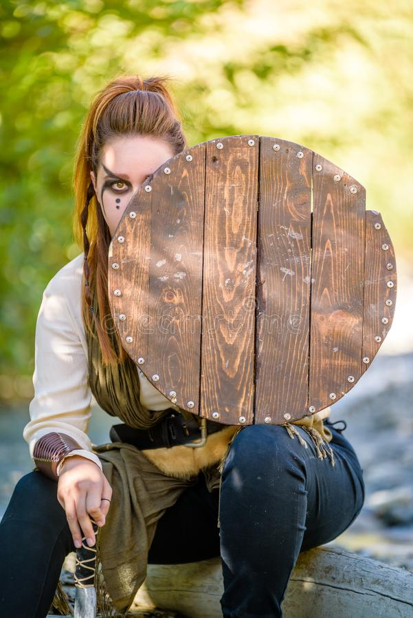 Viking Character fêmea foto de stock