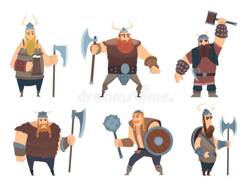 Viking characters. Medieval norwegian warriors military people vector cartoon mascots royalty free illustration