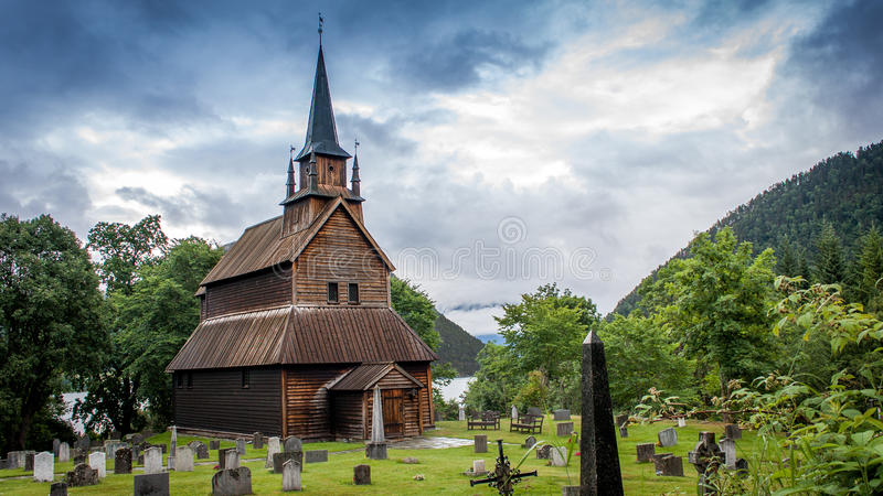 Viking Church. Historical stave viking church located in Norway stock photography