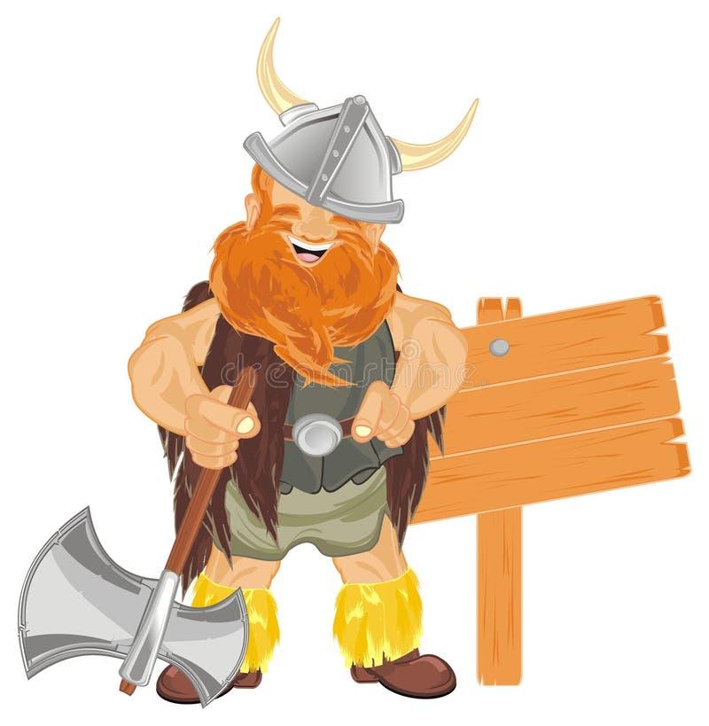 Viking com machado e bandeira ilustração stock