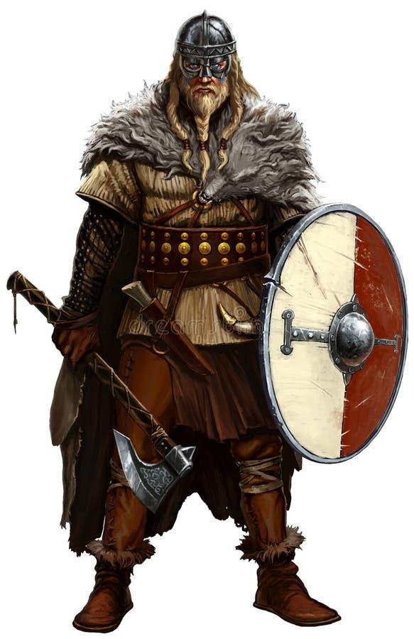 Viking con el hacha y el escudo en blanco libre illustration