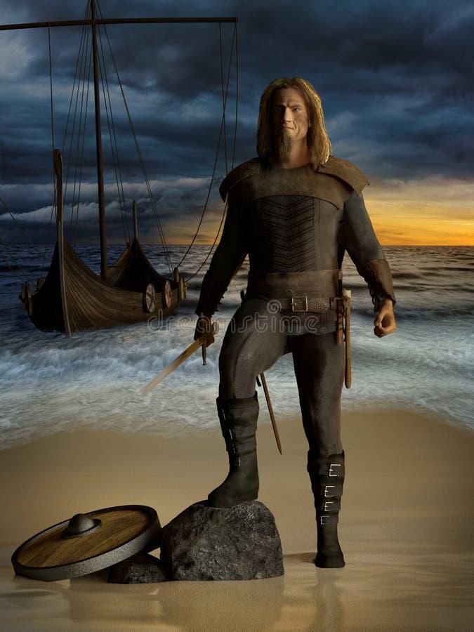 Viking con la nave sulla spiaggia sotto il cielo scuro illustrazione vettoriale
