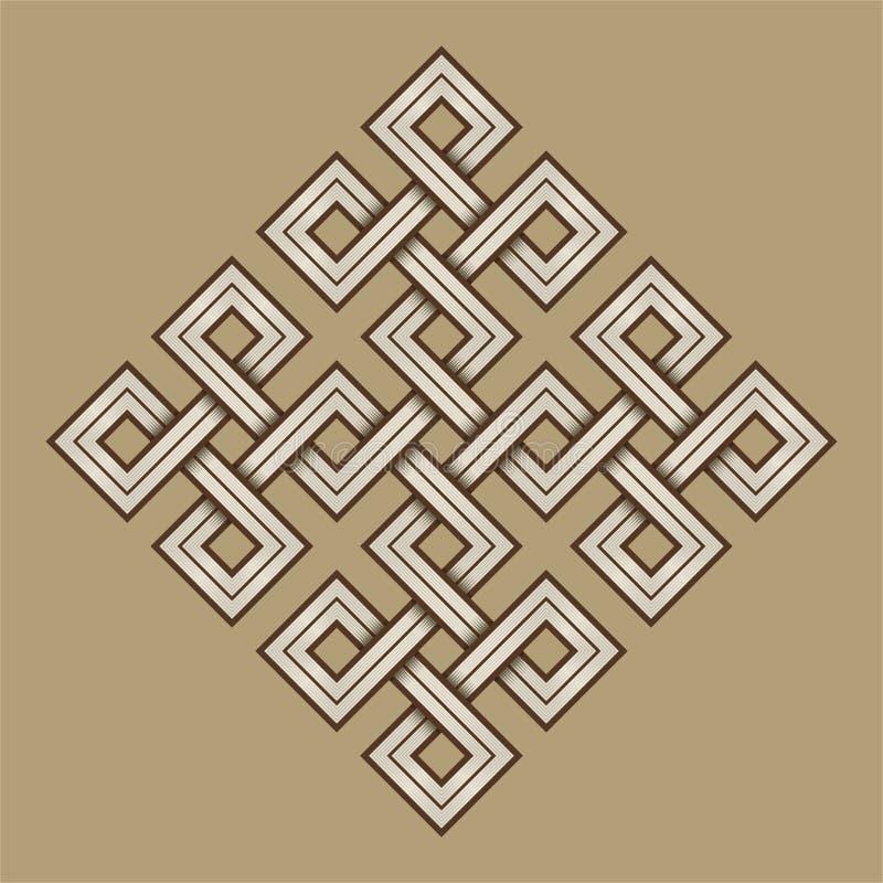 Viking Decorative Knot - graviert - verwobene Quadrate stock abbildung