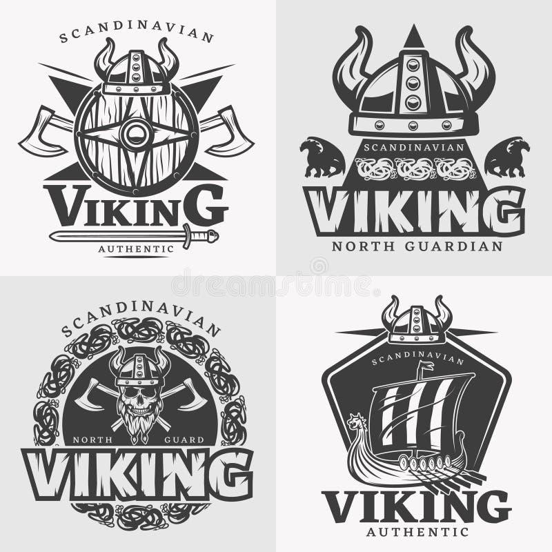 Viking Design Emblem Set stock illustration