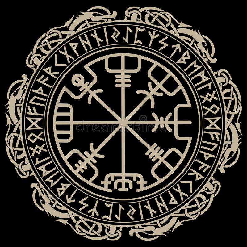 Viking design. Magical runic compass Vegvisir, in the circle of Norse runes and dragons. Vector illustration vector illustration