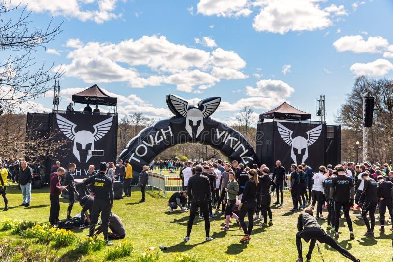 Viking dur, la plus grande et la plus brutale concurrence de course d'obstacle dans la région nordique images libres de droits