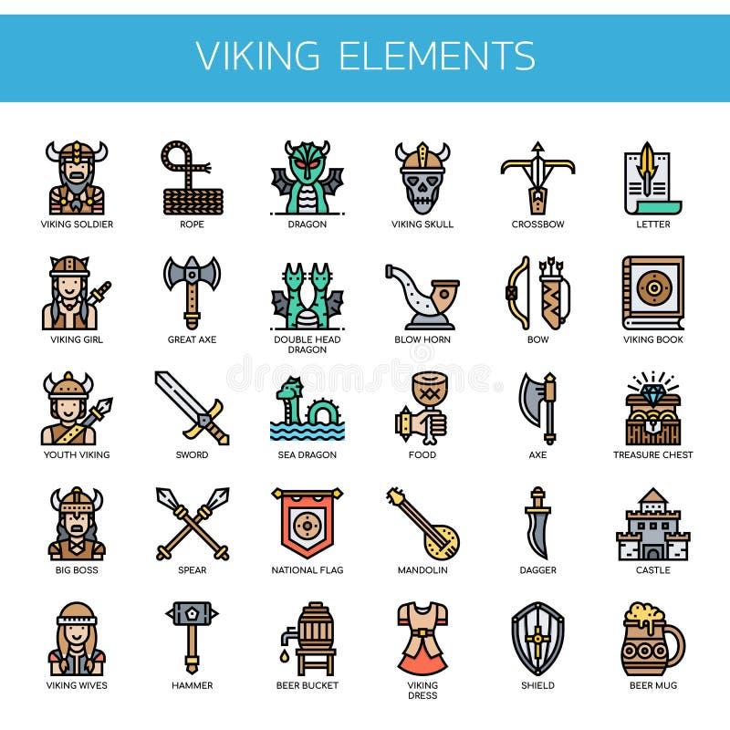 Viking Elements, Pixel-perfekte Ikonen stockbilder