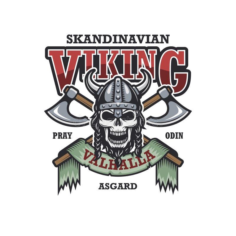 Viking-embleem op witte achtergrond vector illustratie