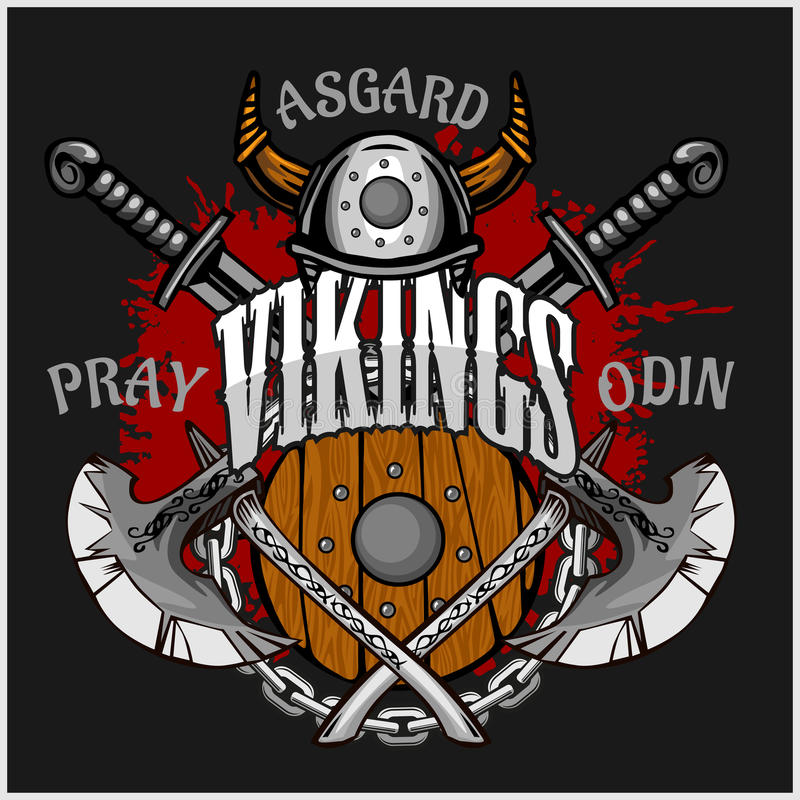 Viking emblem and logos plus isolated elements stock illustration