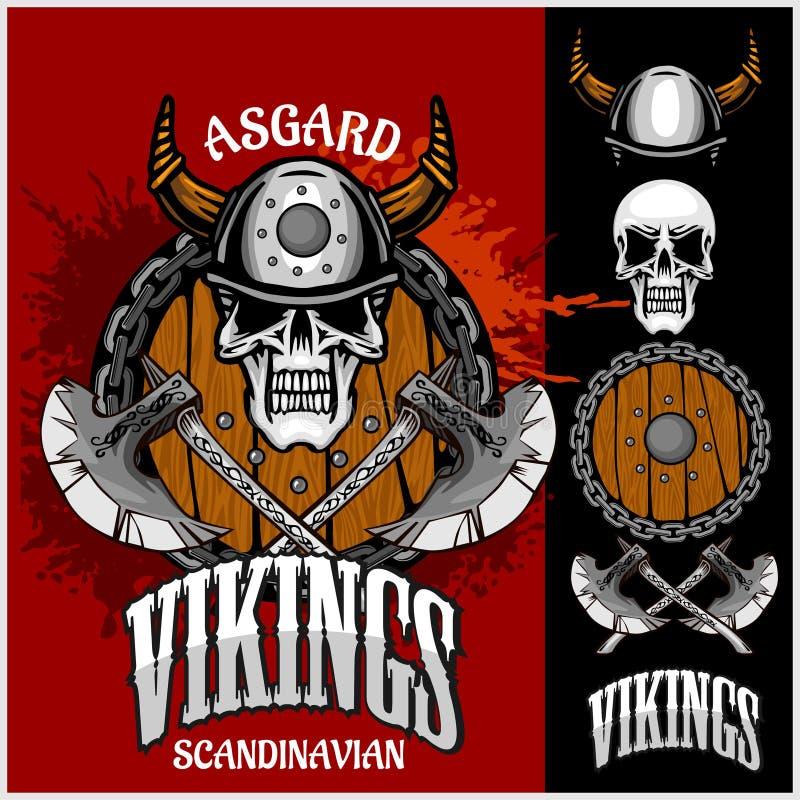 Viking emblem och logoer plus isolerade beståndsdelar stock illustrationer