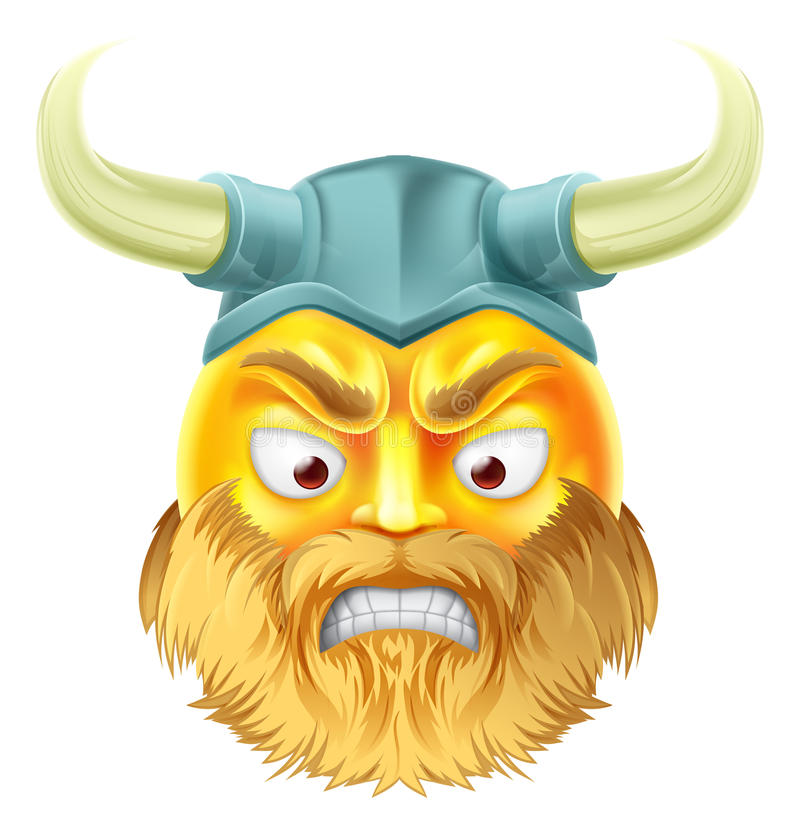 Viking Emoji Emoticon royaltyfri illustrationer