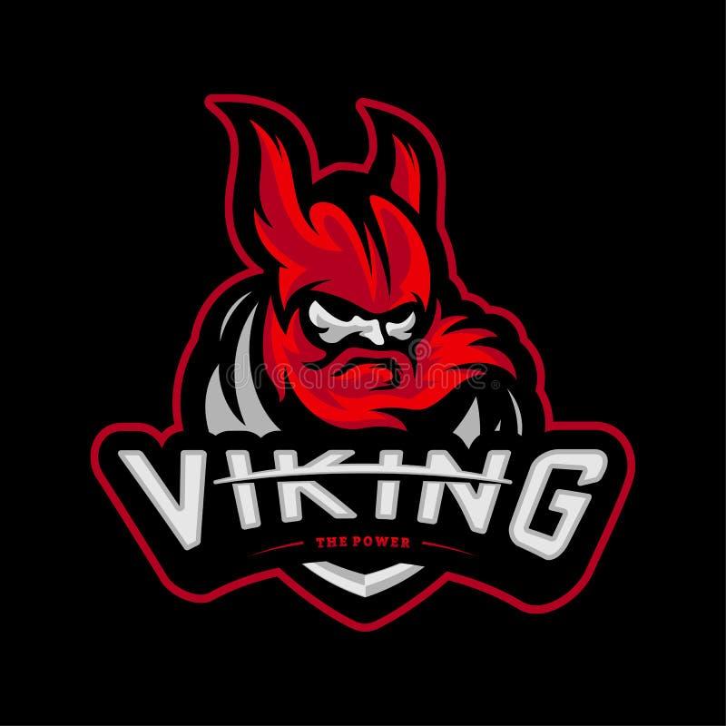 Viking-eSports Logo Design Vector Viking Mascot Gaming Logo Concepts stock abbildung