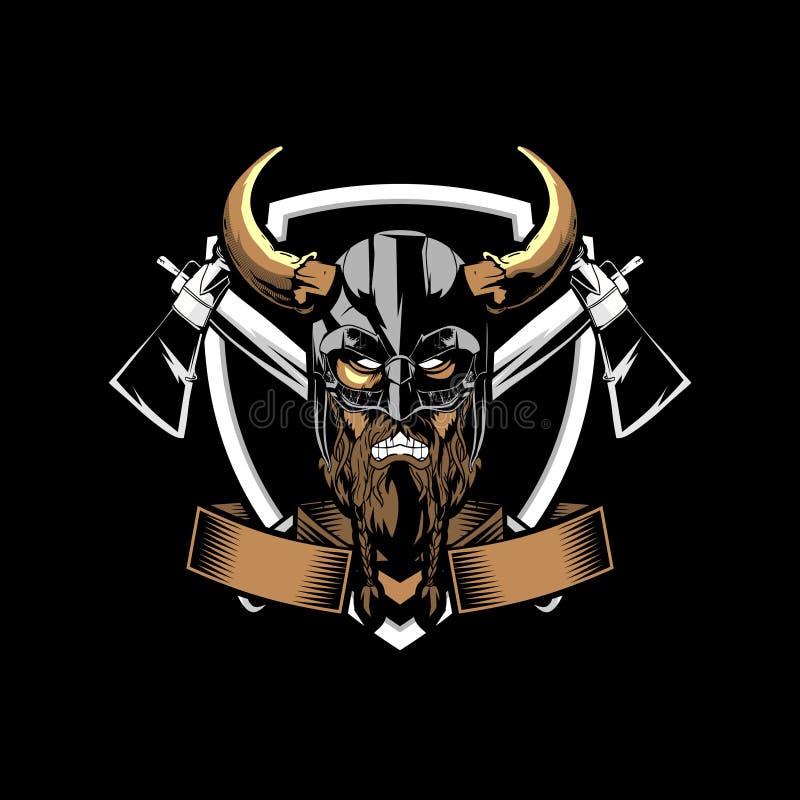 Viking fâché étonnant et unique avec le calibre de logo d'insigne de vecteur de hache et de bouclier illustration stock