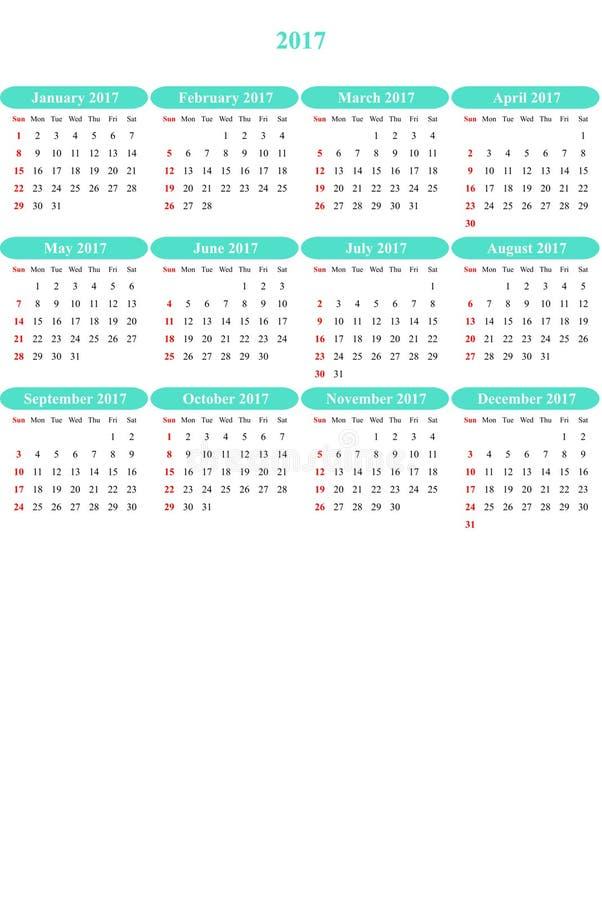 Viking färbte klar farbigen einfachen Kalender 2016 stock abbildung