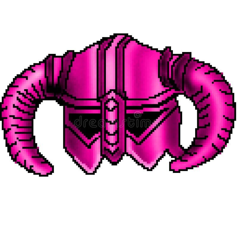 Viking för bit för PIXEL 8 utdragen horned hjälm vektor illustrationer