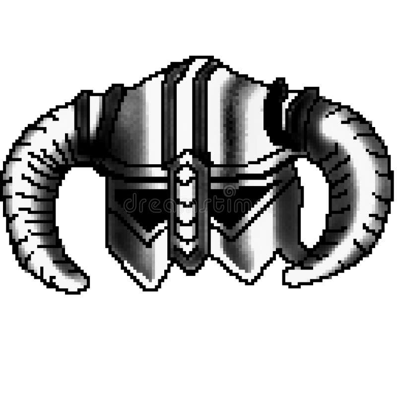 Viking för bit för PIXEL 8 utdragen horned hjälm royaltyfri illustrationer