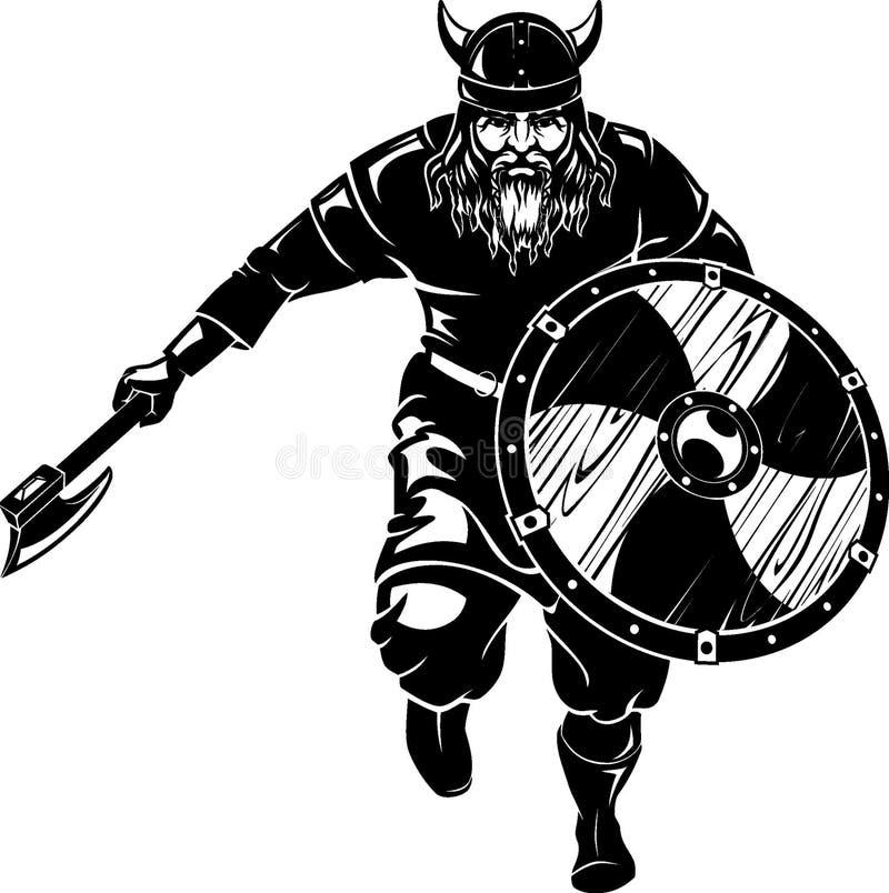 Viking Fantasy Battle Front Attack-Stormloop stock illustratie