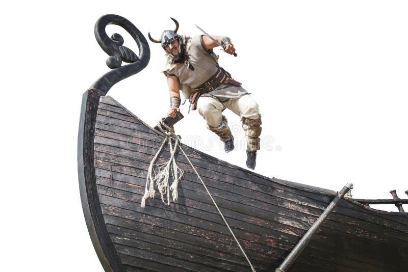 Viking farpado irritado forte com salto da faca fotografia de stock royalty free