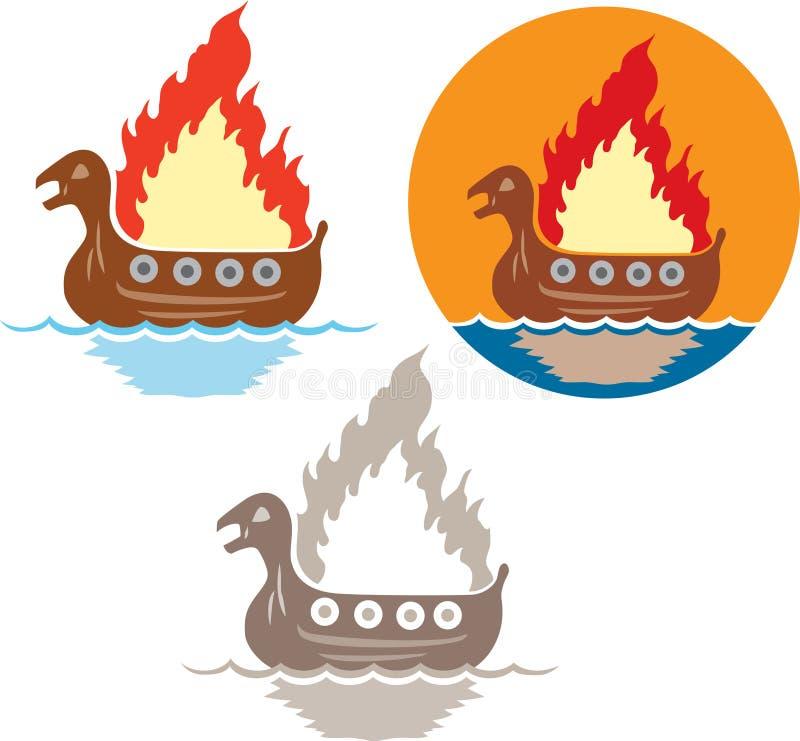 Viking funeral icon stock illustration