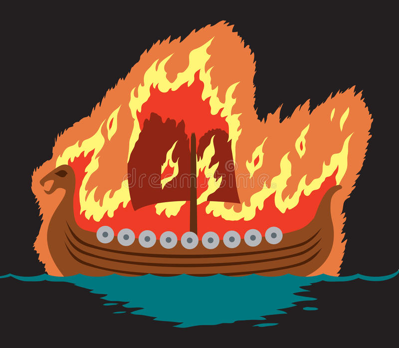 Viking funeral royalty free illustration