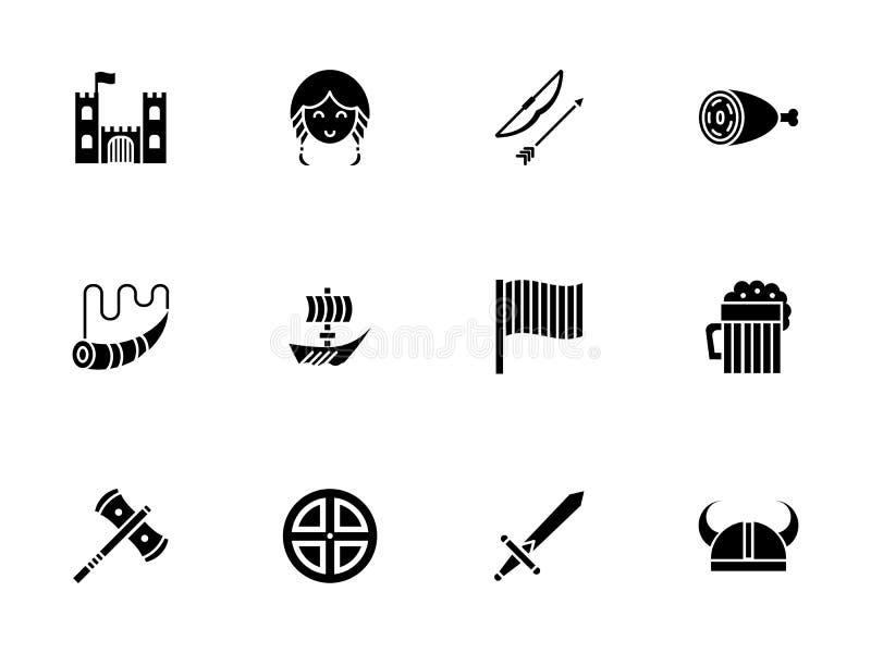 Viking-geplaatste de pictogrammen van de toebehoren glyph stijl stock foto
