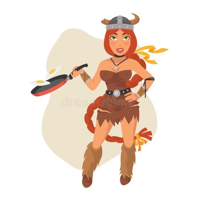 Viking Girl Holds Frying Pan. Vector Illustration, Viking Girl Holds Frying Pan, Format EPS 8 royalty free illustration