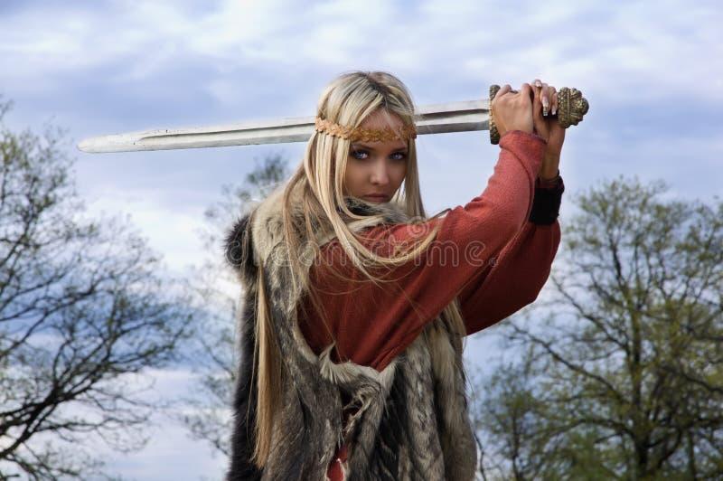 Viking girl warrior royalty free stock images
