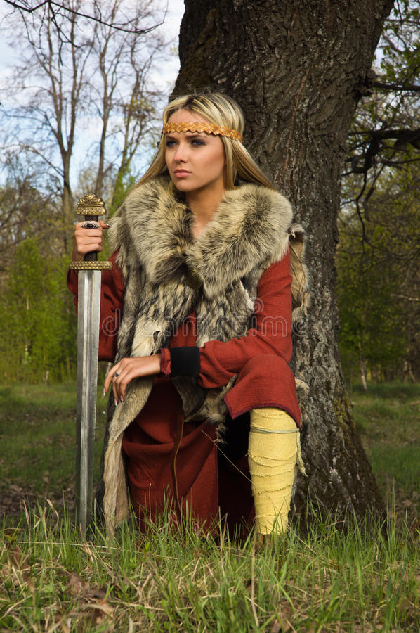Viking girl warrior royalty free stock photos