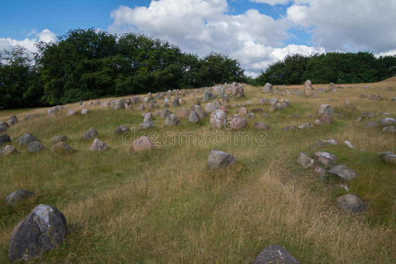 Viking graveyard, Lindholm Hoeje, Aalborg, Denmark. A huge viking grave yard with more than 700 graves placed at Lindholm Hoeje, Aalborg, Denmark royalty free stock photos