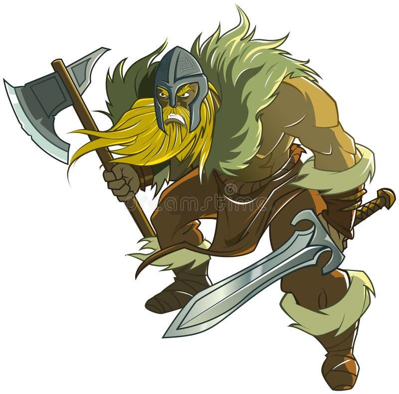 Viking hållande svärd och yxa stock illustrationer