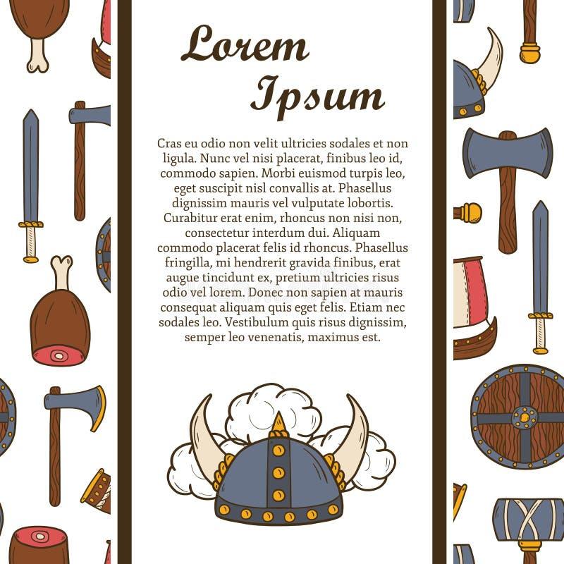 Viking hand dragit begrepp vektor illustrationer