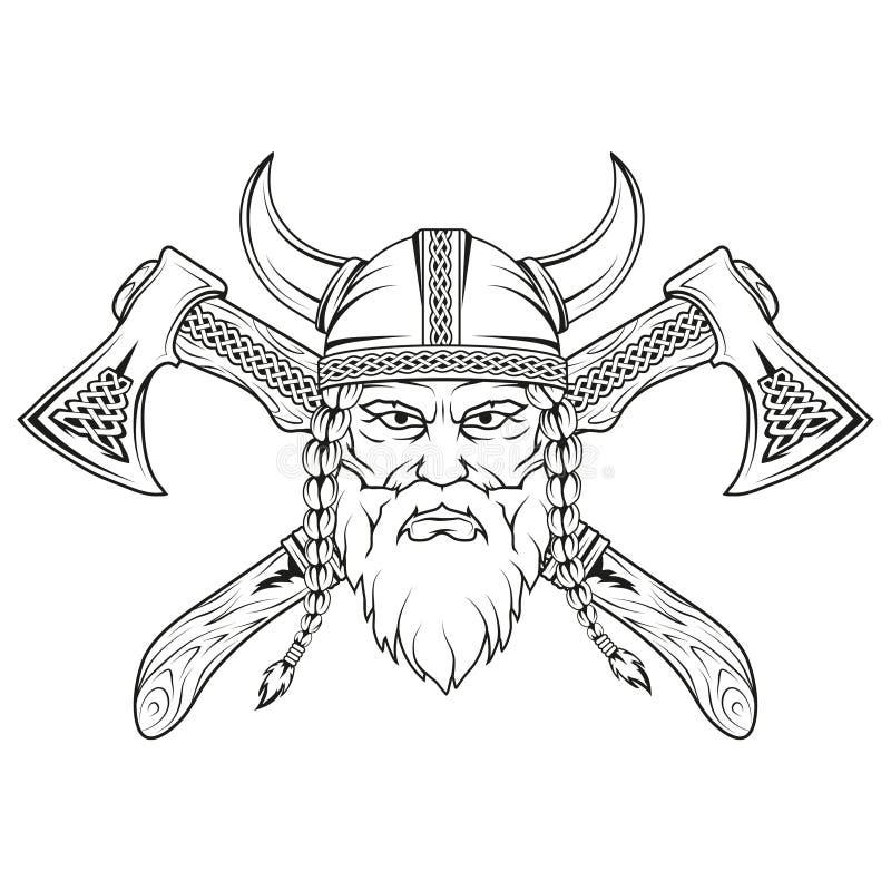 viking Hand van een Viking in een helm met ornament wordt getrokken dat Schets van het hoofd van Viking met traditionele wapens stock afbeeldingen
