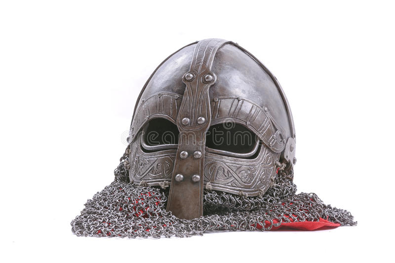 Viking hełm na białym tle obrazy stock