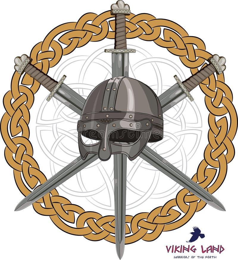 Viking hełm z trzy krzyżującymi kordzikami na tło skandynawa wzorze ilustracji