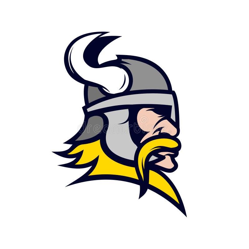 Viking head mascot isolated on white background. stock illustration