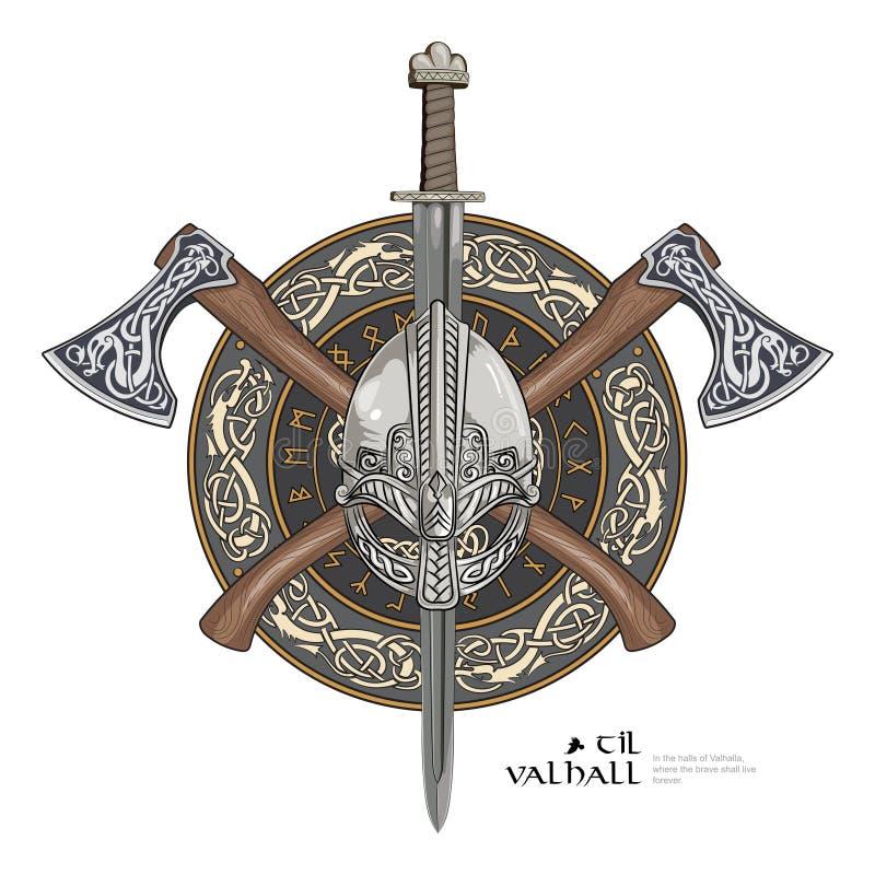 Viking-helm, de gekruiste assen van Viking en in een kroon van het Skandinavische patroon en schild van Viking stock illustratie