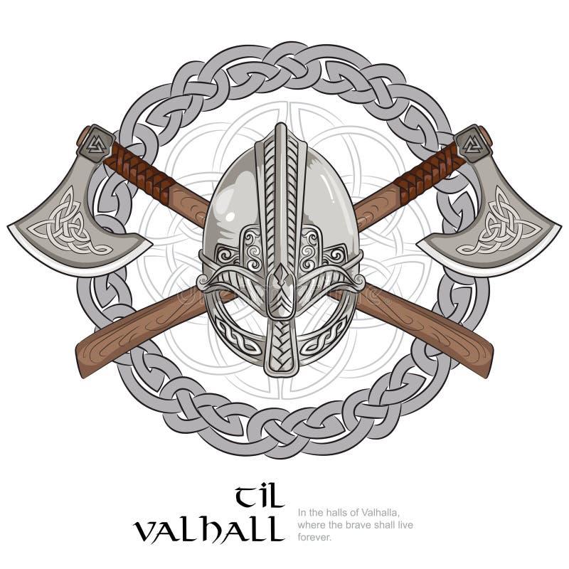 Viking-helm, de gekruiste assen van Viking en in een kroon van Skandinavisch patroon royalty-vrije illustratie