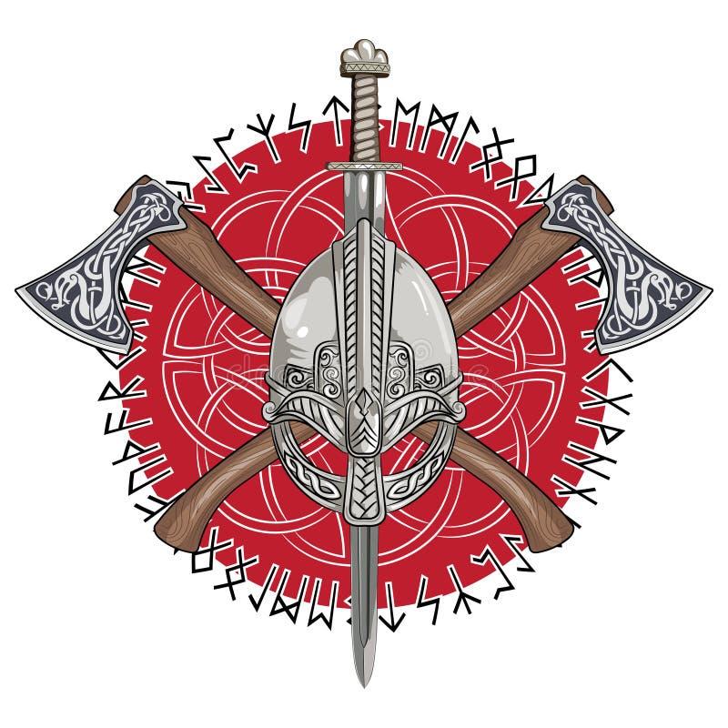 Viking-helm, de gekruiste assen van Viking en in een kroon van Skandinavische patroon en Norse runen royalty-vrije illustratie