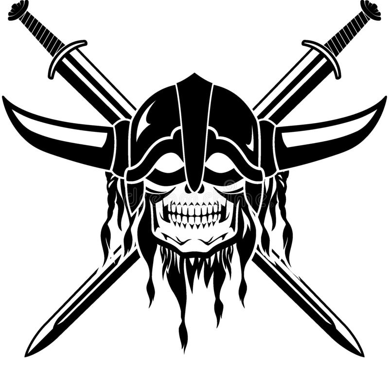 Viking Helm Skull et ?p?e crois?e illustration de vecteur