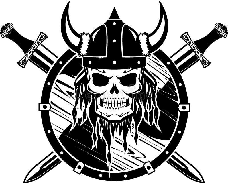 Viking Helm Skull et ?p?e crois?e illustration stock