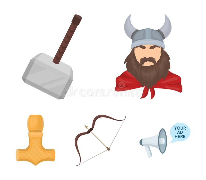 Viking in helmet with horns, mace, bow with arrow, treasure. Vikings set collection icons in cartoon style vector symbol. Stock illustration royalty free illustration