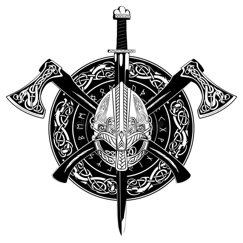 Viking hjälm, korsade viking yxor och i en krans av den skandinaviska modellen och den viking skölden vektor illustrationer