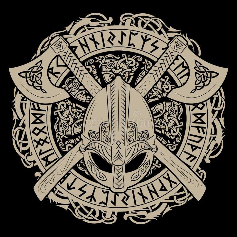 Viking hjälm, korsade viking yxor och i en krans av den skandinaviska modellen och Norserunor stock illustrationer