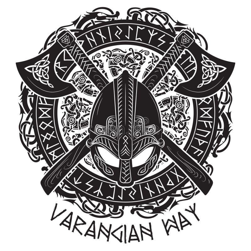 Viking hjälm, korsade viking yxor och i en krans av den skandinaviska modellen och Norserunor arkivfoto