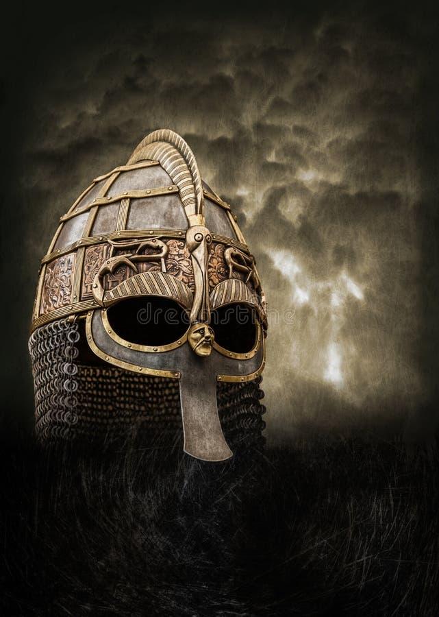 Viking hjälmaffisch stock illustrationer