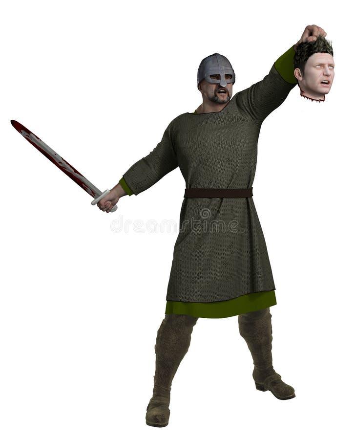 Viking Holding Severed Head vector illustration
