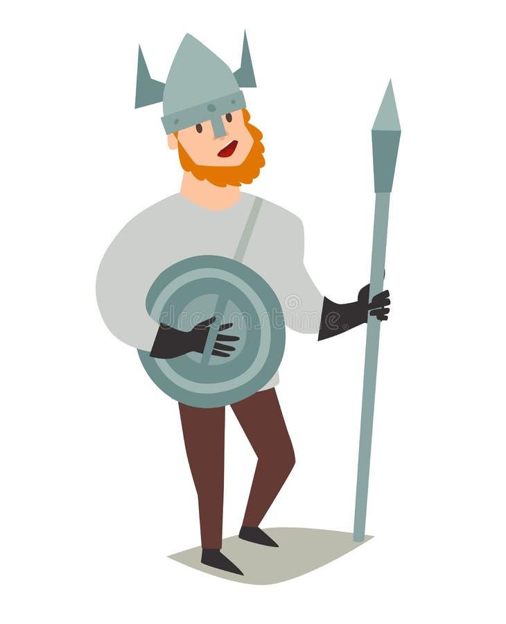 Viking, hombre islandés del guerrero stock de ilustración