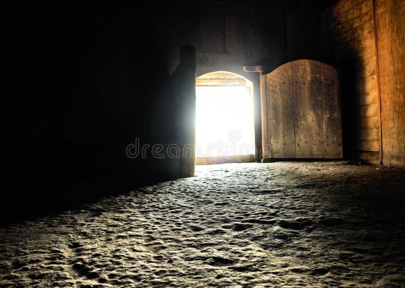 Viking home. Entrance and interior of a viking home stock photos